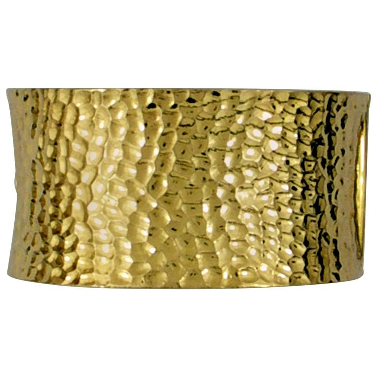 Large Hammered Gold Cuff Bracelet