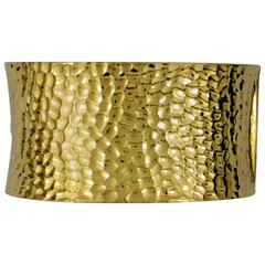 Large Hammered Gold Cuff Bracelet