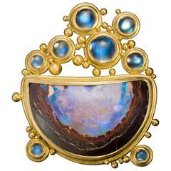 "Boulder Opal Moonstone Gold ""Bubble"" Brooch"