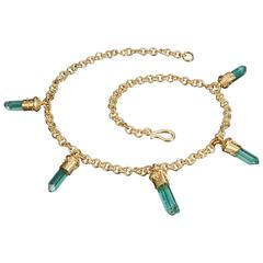 Natural Afghan Tourmaline Crystal Diamond Gold Necklace