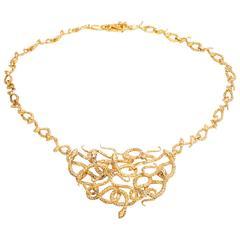 Gold Medusa Snake Necklace Pendant