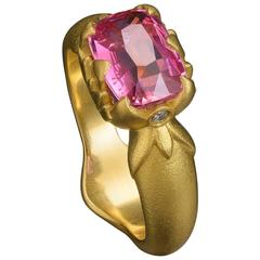 Padparasha Sapphire Diamond Gold Ring