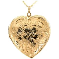 1950s Hand Engraved Heart-Shaped Locket