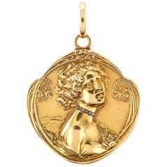 Art Nouveau Gold and Rose Cut Diamond Locket