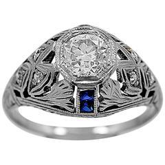 Art Deco .65 Carat Diamond Sapphire Gold Engagement Ring