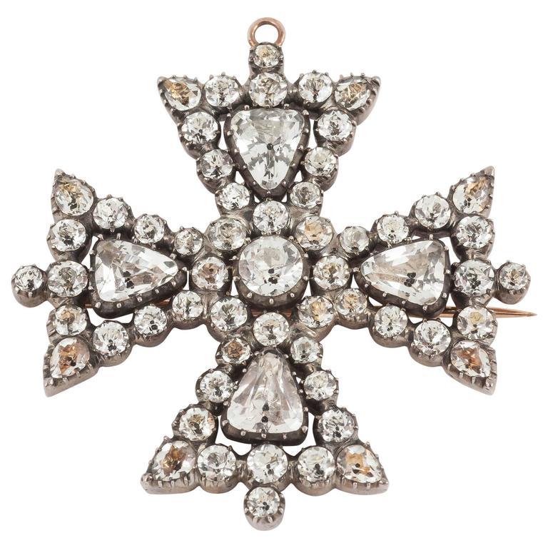 1820s English White Crystal Maltese Cross Brooch