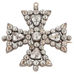 1820s English White Paste Maltese Cross Brooch