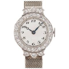 Goldsmiths and Silversmiths Ladies Yellow White Gold Diamond Evening Wristwatch