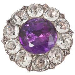1820s English Real Amethyst and White Paste Brooch