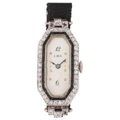 International Watch Company Ladies Platinum Diamond Onyx Wristwatch
