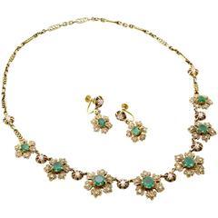 Emerald Diamond Necklace Convertible Bracelet Earrings Set