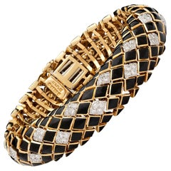 David Webb Black Enamel Diamond Gold Bracelet