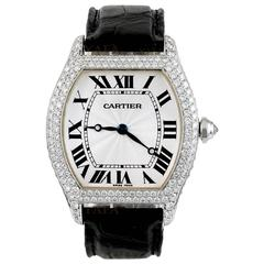 Cartier Ladies White Gold Diamond Large Tortue Wristwatch