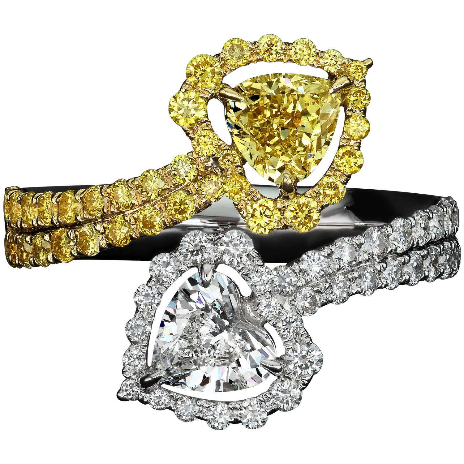 1 21 Carat Flawless Heart Shaped Diamond Two Color Gold Ring For Sale at 1stdibs