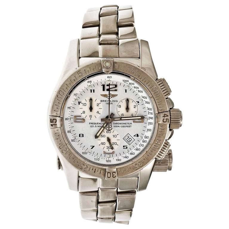Breitling Stainless Steel Chronograph Date Emergency Beacon Wristwatch For Sale