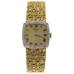 Chopard  Diamond Watch with Byzantine Wheat Chain Bracelet