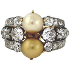 1910 Tiffany & Co. Edwardian GIA Cert Pearl Diamond Gold Ring