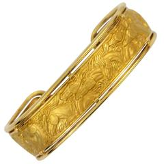 Carrera y Carrera Gold Cuff Horses in Relief