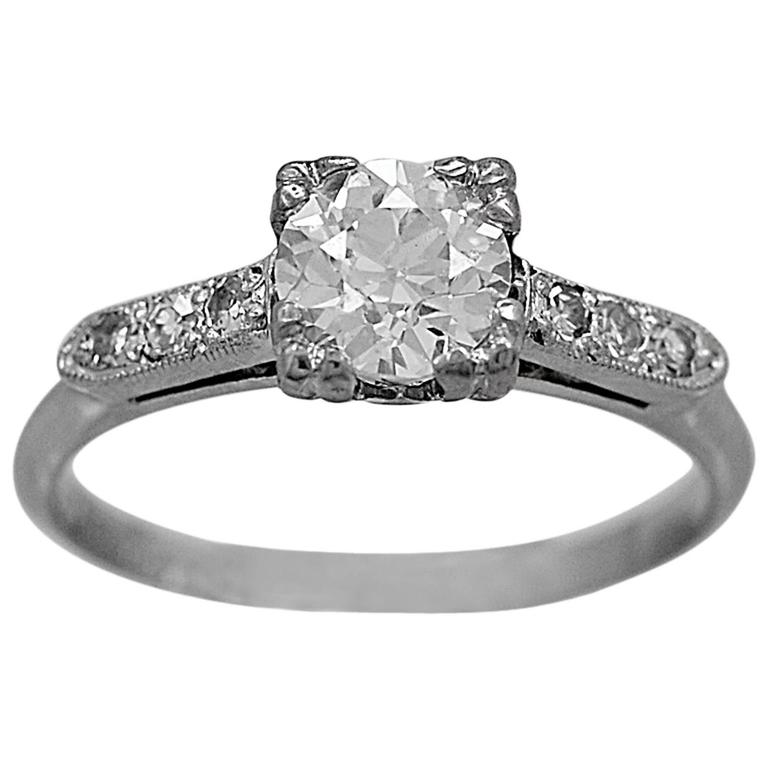 Art Deco .62 Carat Diamond Platinum Engagement Ring