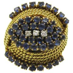 Retro Sapphire Diamond Gold Ring