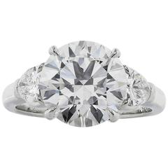 3.61 Carat Round Brilliant Cut GIA Cert Diamond Platinum Three Stone Ring