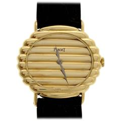 Piaget Ladies Yellow Gold Ribbed Wristwatch