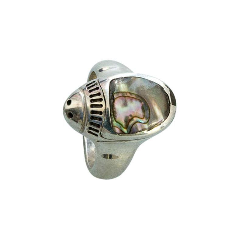 Estate Walter Schluep Ladybug Abalone Gemstone Sterling Silver Heirloom Ring
