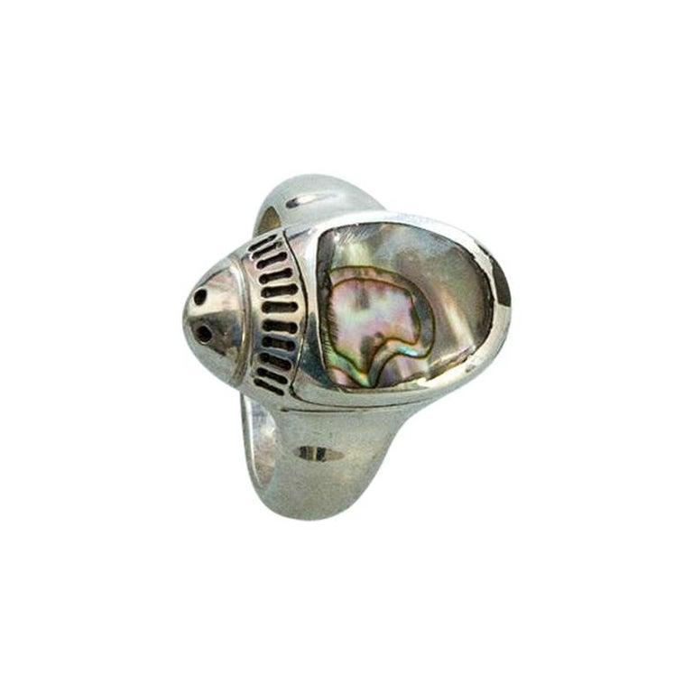 Estate Walter Schluep Ladybug Abalone Gemstone Sterling Silver Heirloom Ring For Sale