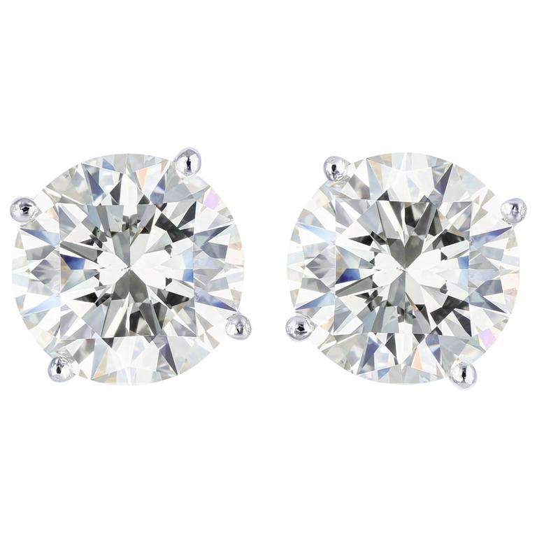 4.06 Carats Round Brilliant Cut Diamonds Platinum Stud Earrings For Sale