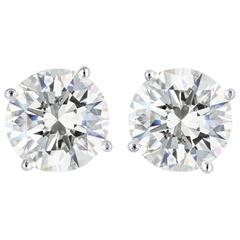 4.06 Carats Round Brilliant Cut Diamonds Platinum Stud Earrings