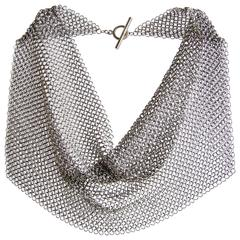Allison Stern Stainless Steel Chain Maille Drape Necklace