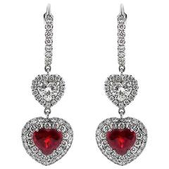 Important Burmese Ruby Diamond Gold Drop Earrings