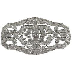 Art Deco Diamond Gold Platinum Brooch