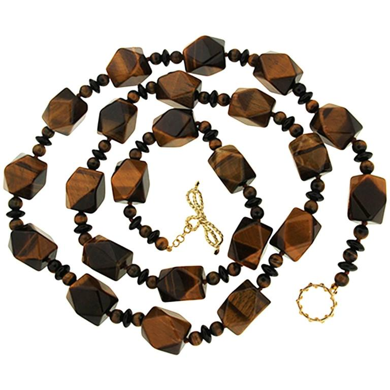 Valentin Magro Tiger's Eye Faceted Cube Beads Onyx Gold Necklace