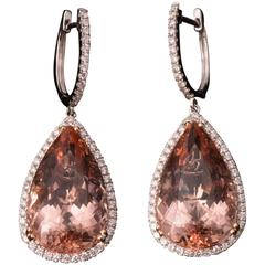 Magnificent Morganite Diamond Gold Earrings