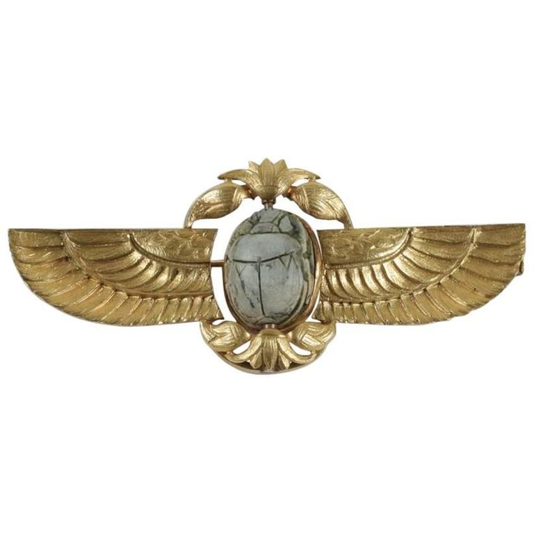 1920s Egyptian Revival Scarab Gold Brooch at 1stdibs