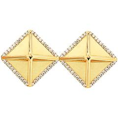 Large Diamond Gold Pyramid Earrings