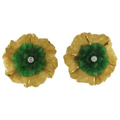 Buccellati Carved Jade Diamond Gold Earrings