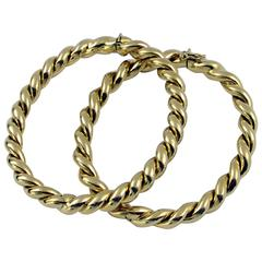 Set of Two Gold Twisted Rope Bangle Bracelets