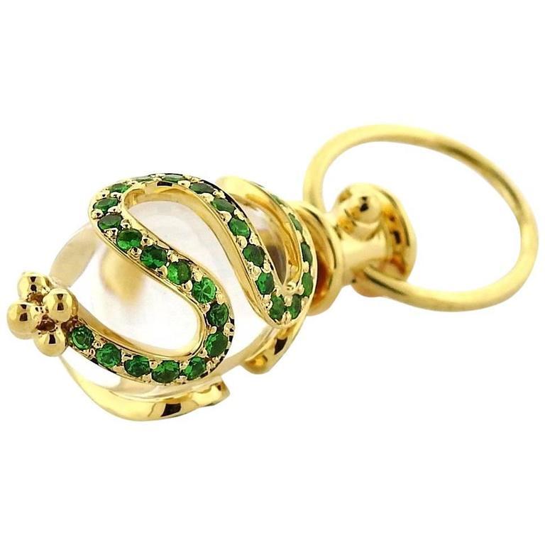 Temple St Clair Matisse Rock Crystal Tsavorite Gold Amulet Pendant