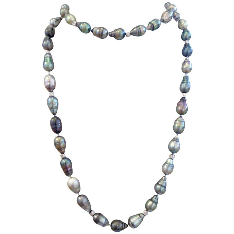 Roaring Twenties Black Tahitian Pearl Necklace For Sale