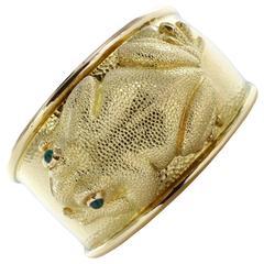 David Webb Gold Frog Bangle Bracelet