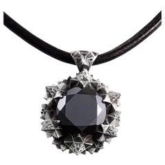 Thoscene Hematite Silver Pendant Necklace