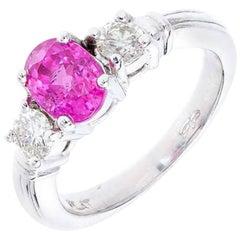 Peter Suchy 1.25 Carat Natural Pink Sapphire Diamond Platinum Engagement Ring