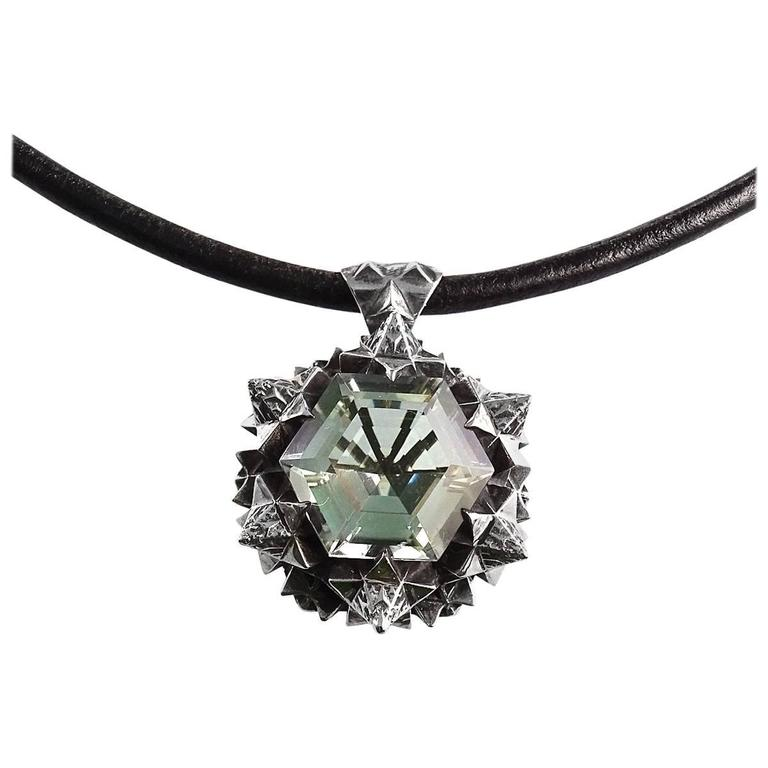Thoscene Green Amethyst Silver Joy Pendant