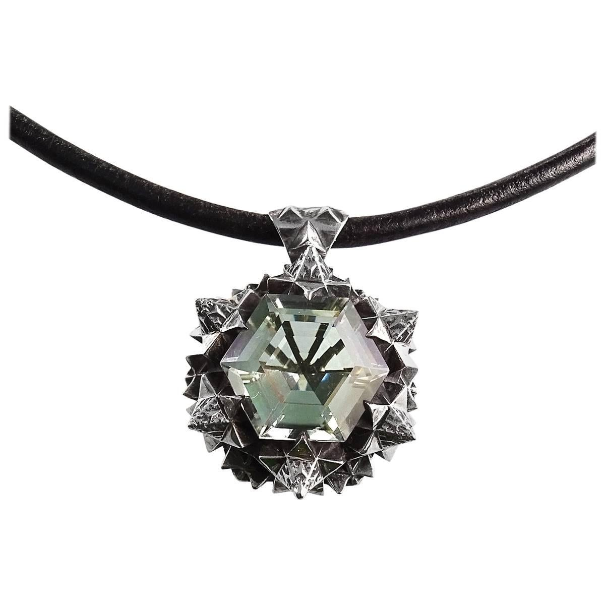 Thoscene Green Amethyst Silver Joy Pendant Necklace