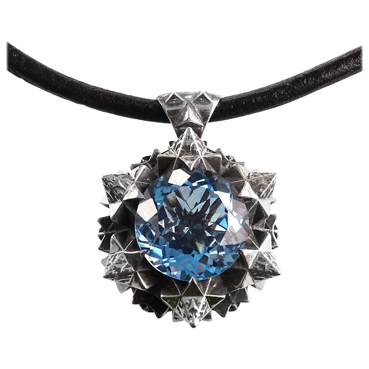 Thoscene Aquamarine Silver Peace Pendant Necklace