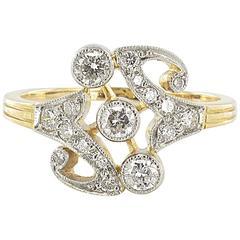 French Art Nouveau Spirit Gold Platinum Ring