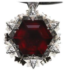 Thoscene Garnet Silver Love Pendant