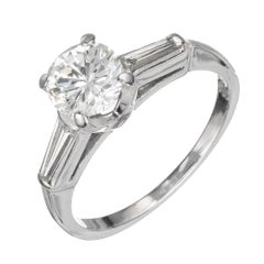 EGL Certified 1.03 Carat Transitional Diamond Platinum Engagement Ring